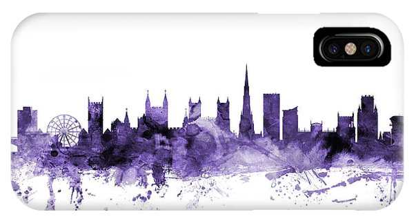 Violet iPhone Case - Bristol England Skyline by Michael Tompsett