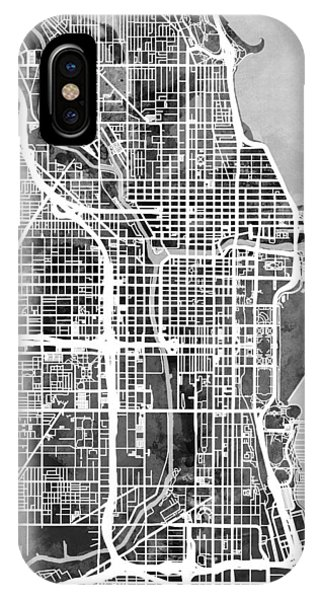 Chicago iPhone Case - Chicago City Street Map by Michael Tompsett