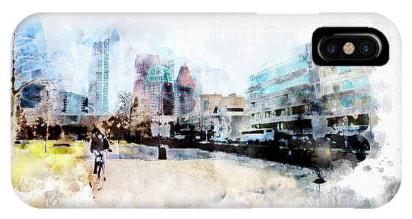 City Life In Watercolor Style IPhone Case