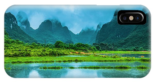 IPhone Case featuring the photograph Karst Rural Scenery In Raining by Carl Ning