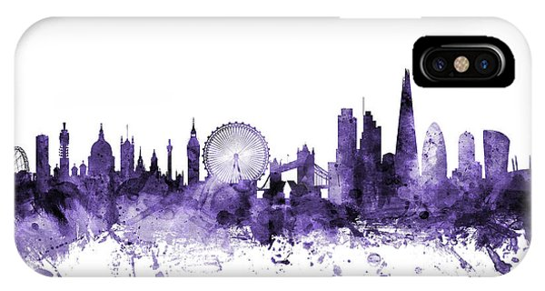 Violet iPhone Case - London England Skyline by Michael Tompsett