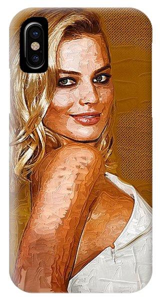 Orlando Bloom iPhone Case - Margot Robbie Art by Elizabeth Simon
