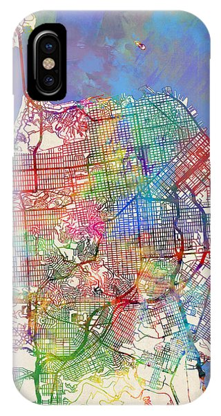 San Francisco iPhone Case - San Francisco City Street Map by Michael Tompsett
