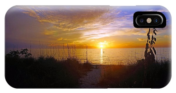 Sunset At Delnor Wiggins Pass State Park In Naples, Fl IPhone Case