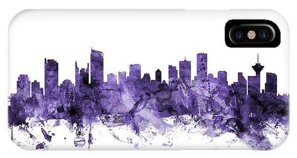 Vancouver Skyline iPhone Case - Vancouver Canada Skyline by Michael Tompsett