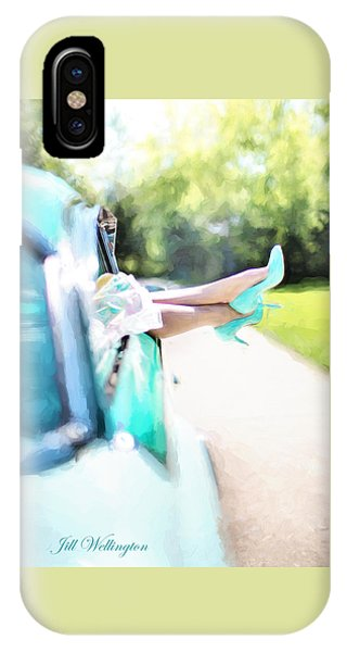 Vintage Val In The Turquoise Vintage Car IPhone Case