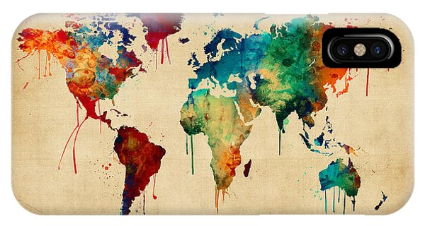 Planet iPhone Case - Watercolor Map Of The World Map by Michael Tompsett