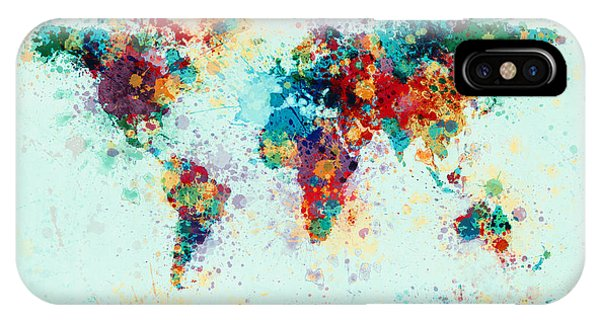 Map iPhone Case - World Map Paint Splashes by Michael Tompsett