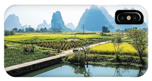 IPhone Case featuring the photograph Rice Fields Scenery In Autumn by Carl Ning