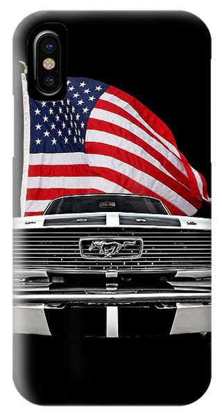 66 Mustang With U.s. Flag On Black IPhone Case
