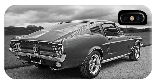67 Fastback Mustang In Black And White IPhone Case