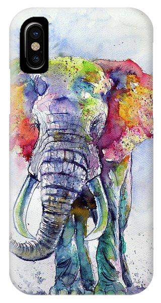Wild Life iPhone Case - Colorful Elephant by Kovacs Anna Brigitta