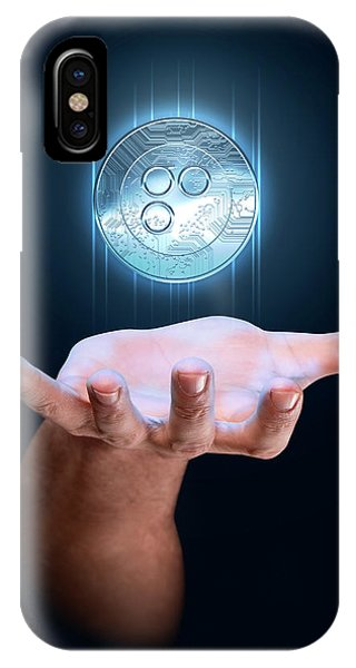 Hand With Cryptocurrency Hologram IPhone Case
