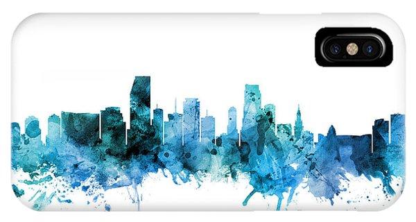 Florida iPhone Case - Miami Florida Skyline by Michael Tompsett