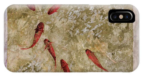 Koi iPhone Case - 7 Pesci Rossi E Oro by Guido Borelli