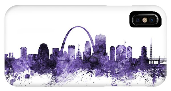 Violet iPhone Case - St Louis Missouri Skyline by Michael Tompsett