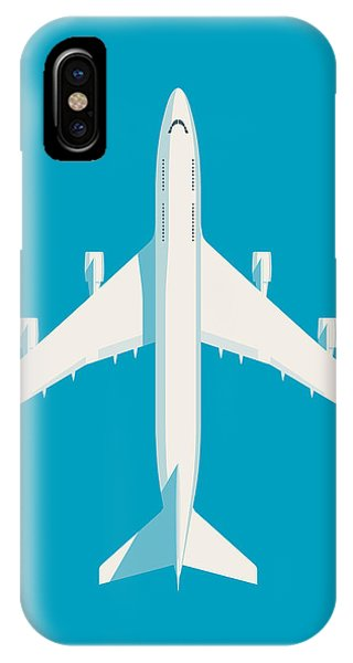 Airline iPhone Case - 747 Jumbo Jet Airliner Aircraft - Cyan by Ivan Krpan