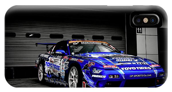 Nissan iPhone Case - 7763 Nissan Tuning Race Cars Blue Cars Selective Coloring by Mery Moon