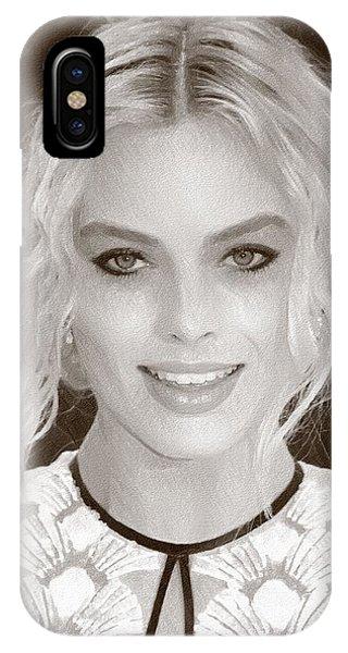 Orlando Bloom iPhone Case - Actress Margot Robbie by Elizabeth Simon