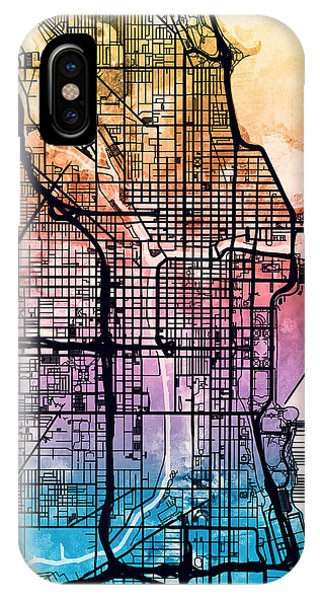 Grant Park iPhone Case - Chicago City Street Map by Michael Tompsett