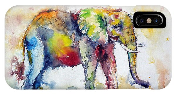 Wild Life iPhone Case - Big Colorful Elephant by Kovacs Anna Brigitta