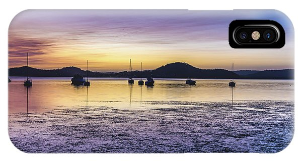 Dawn Waterscape Over The Bay With Boats IPhone Case