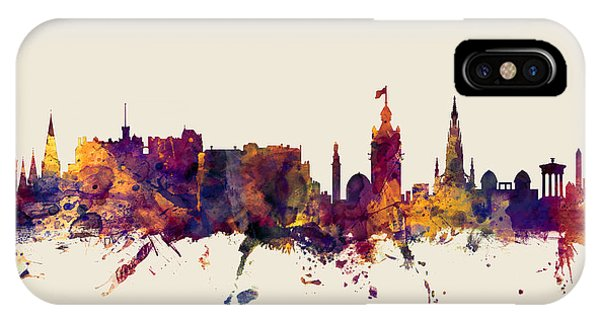 Scotland iPhone Case - Edinburgh Scotland Skyline by Michael Tompsett