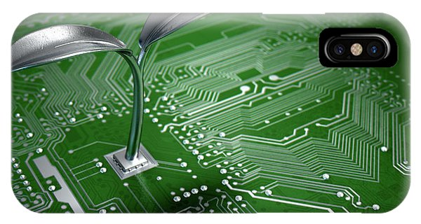 Macro Circuit Board With Futuristic Plant IPhone Case