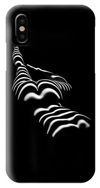 8897-slg Zebra Woman Legs Up Black And White Photograph By Chris Maher IPhone Case