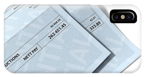 Capitalism iPhone Case - Income Inequality Paychecks by Allan Swart