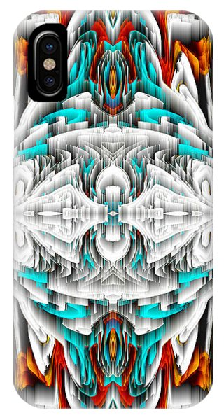 IPhone Case featuring the digital art 992.042212mirror2ornateredablue-1 by Kris Haas