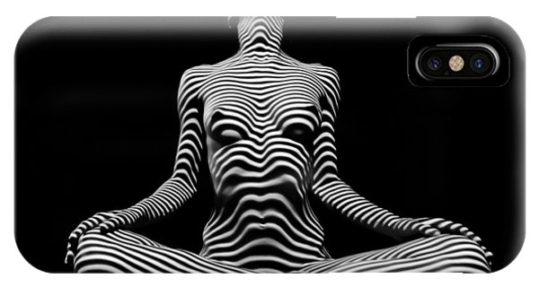 9934-dja Lotus Position In Zebra Stripes  IPhone Case