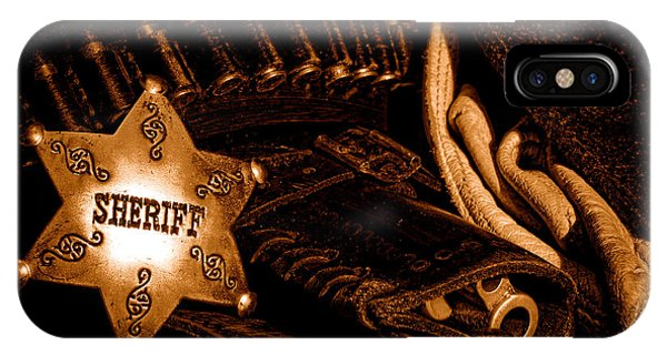 A Badge And A Weapon - Sepia IPhone Case