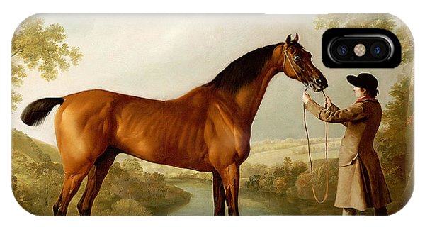 Horseman iPhone Case - A Bay Racehorse Held By A Groom In An Extensive Landscape by George Stubbs