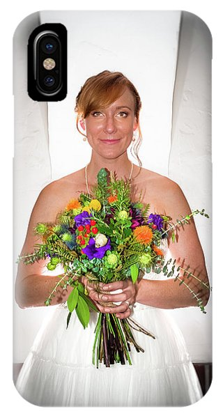 A Beautiful Backlit Bride And Her Bouquet IPhone Case