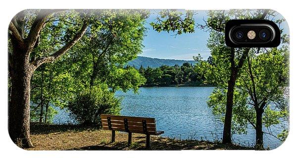 A Bench Overlooking Vasona Lake IPhone Case