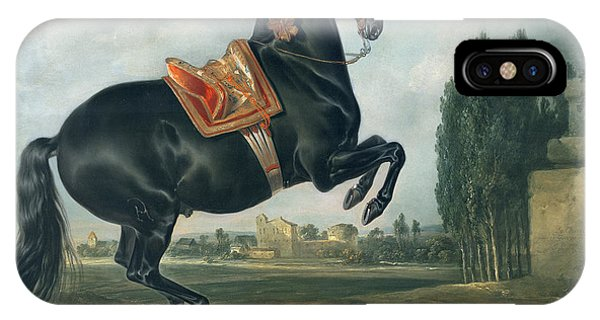See iPhone Case - A Black Horse Performing The Courbette by Johann Georg Hamilton