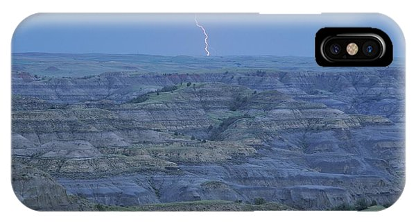 North Dakota Badlands iPhone Case - A Bolt Of Lightning Is Seen by Michael Melford