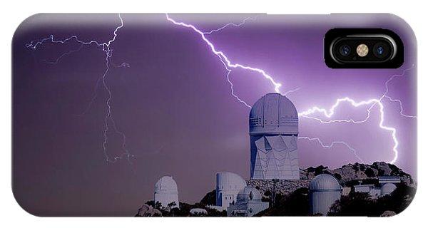 Purple Rain iPhone Case - A Bolt Of Lightning Over An Observatory by Derrick Neill