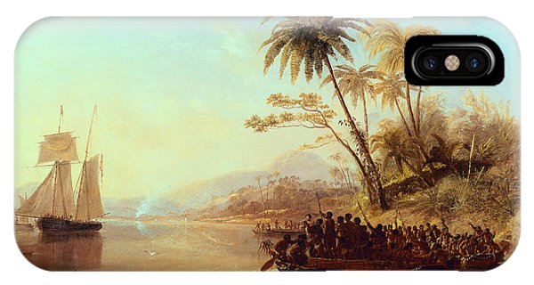 British Empire iPhone Case - A British Surveying Ship In The South Pacific Greeted By Islanders by John Wilson Carmichael