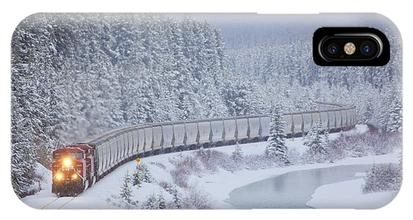Travel iPhone Case - A Canadian Pacific Train Travels Along by Chris Bolin
