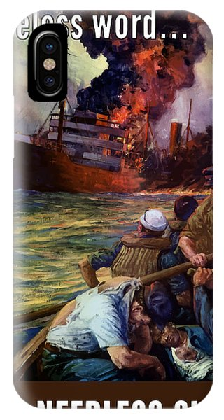 Ship iPhone Case - A Careless Word A Needless Sinking by War Is Hell Store