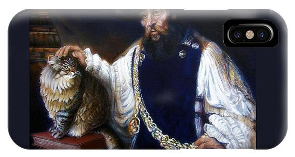 A Cat For Rembrandt_ Aristotle Caresses Calliope IPhone Case