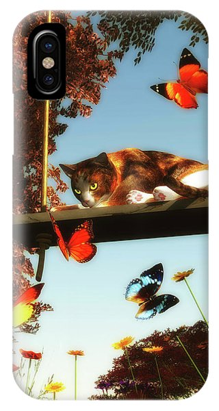 A Cat Looks At The Butterflies IPhone Case