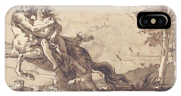 Centaur iPhone Case - A Centaur Abducting A Nymph by Giovanni Domenico Tiepolo