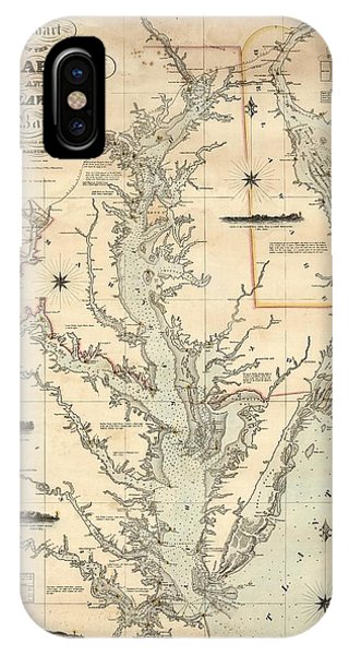 IPhone Case featuring the painting A Chart Of The Chesapeake And Delaware Bays 1862 by Celestial Images