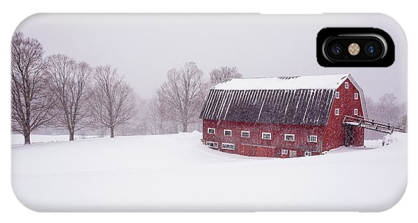 New England Barn iPhone Case - A Classic New England Red Cow Barn In A Blizzard by Edward Fielding