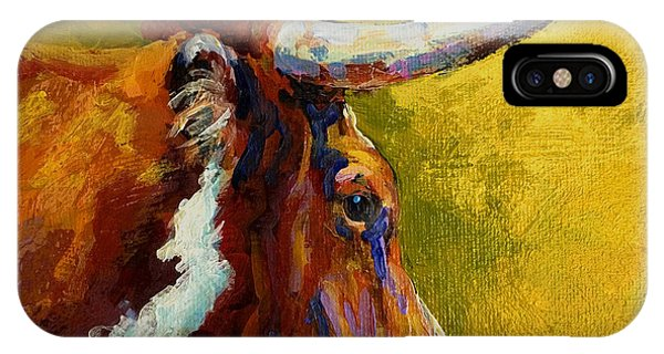 Cow iPhone X / XS Case - A Couple Of Pointers - Longhorn Steer by Marion Rose