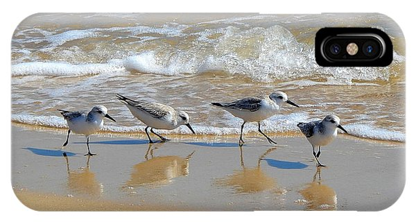 A Cute Quartet Of Sandpipers IPhone Case