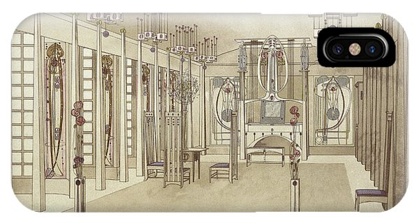 Fireplace iPhone Case - A Design For A Music Room by Charles Rennie Mackintosh